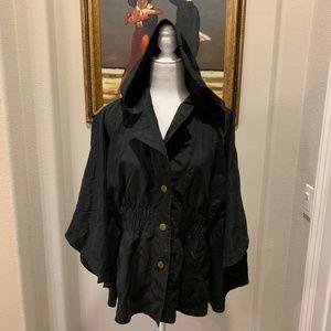Mystree Black Batwing Cap Poncho Hoodie Jacket